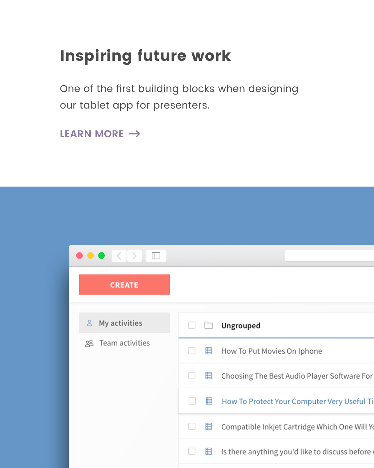 Inspiring a tablet app for presenters